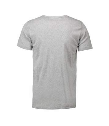 ID Mens 1x1 Rib Fitted Short Sleeve T-Shirt (Grey melange) - UTID224