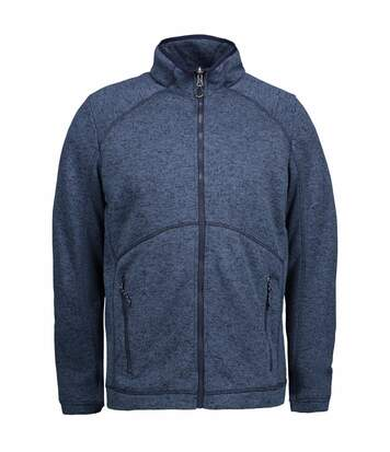 ID Mens Zip N Mix Full Zip Melange Fleece (Navy Melange) - UTID427