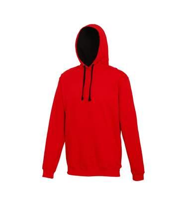 Awdis Varsity Hooded Sweatshirt / Hoodie (Jet Black / Hot Pink) - UTRW165