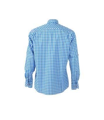 chemise manches longues à carreaux - JN638 - HOMME - bleu royal et blanc