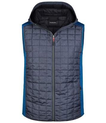 Veste tricot matelassée sans manches - homme - JN768 - gris foncé et bleu roi