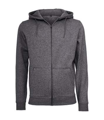 Build Your Brand Mens Heavy Zip Up Hoodie (Charcoal) - UTRW5680