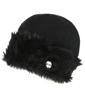 Regatta Womens/Ladies Luz Faux Fur Trim Cotton Jersey Winter Beanie Hat (Black) - UTRG3845