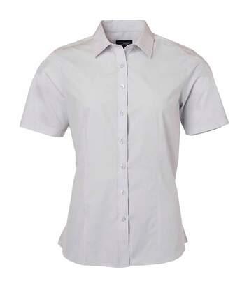 chemise popeline manches courtes - JN679 - femme - gris clair