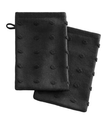 Atmosphera - Lot de 2 Gants de toilette en Coton Noir 15 x 21 cm