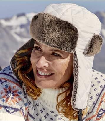 Women's White Ushanka Hat