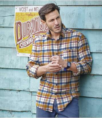 Men's Mississippi Checked Shirt - Yellow Blue Burgundy