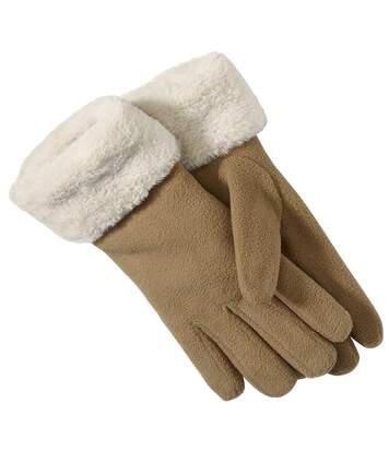 Flaušové rukavice s umelou kožušinou