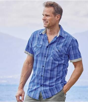 Men's Blue Checked Poplin Shirt