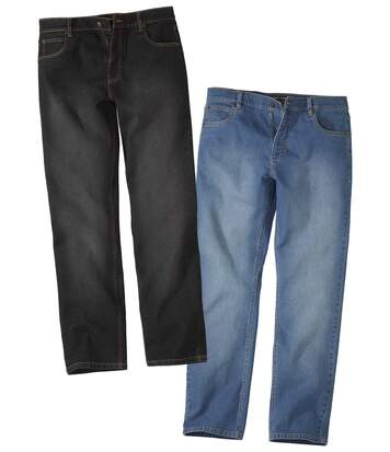 Pack of 2 Men's Regular Stretch Jeans - Black Blue