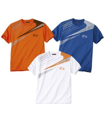 Pack of 3 Men's Active T-Shirts - Orange Blue White