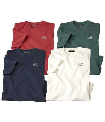 Pack of 4 Classic Men's T-Shirts - Navy Coral Ecru Green