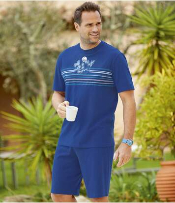 Men's Blue Pyjama Short Set