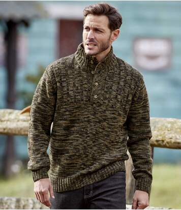 Men's Brown Button-Neck Jumper