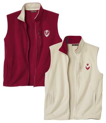 Pack of 2 Men's Microfleece Gilets - Full Zip - Beige Burgundy