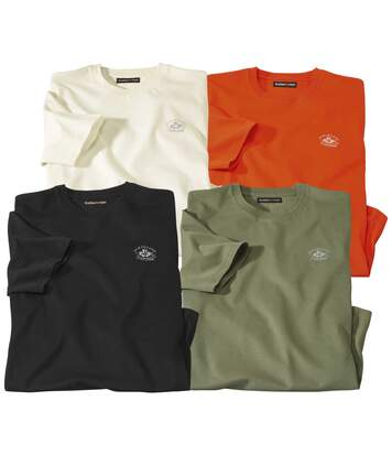Pack of 4 Men's Canada T-Shirts - Black Khaki Ecru Orange
