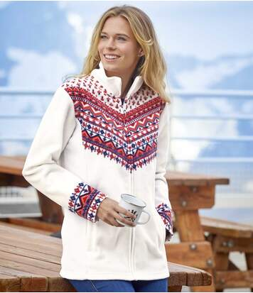 Bílá fleecová bunda saztéckými motivy