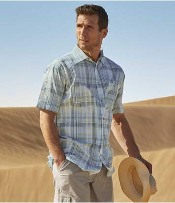 Men's Turquoise Checked Shirt - Waffle-Effect