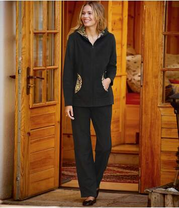 Women's Leopard Print Fleece Loungewear Set - Black - Full Zip
