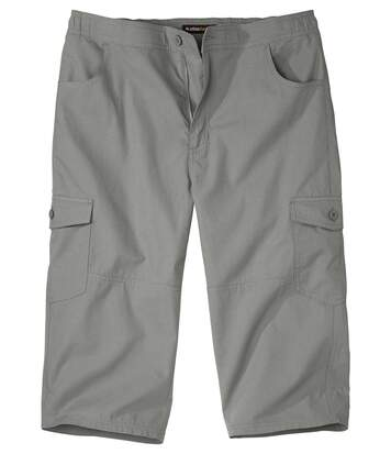 Men's Grey Cropped Cargo Trousers - Multi-Pocket