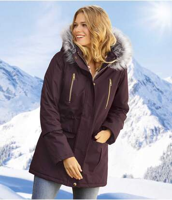 Women's Full Zip Plum Parka - Faux Fur Hood