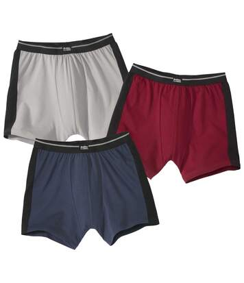 Pack of 3 Men's Sporty Boxer Shorts - Burgundy Navy Grey