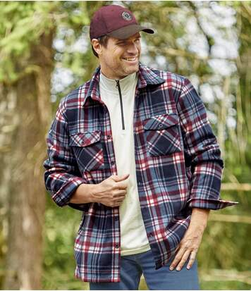 Men's Fleece Overshirt - Navy Burgundy