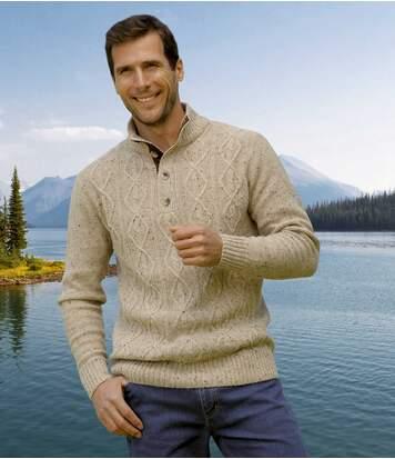 Bézs, gombos nyakú kötött pulóver