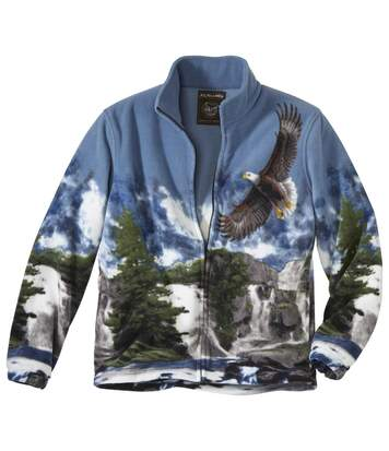 Men's Fleece Jacket - Blue Eagle Print