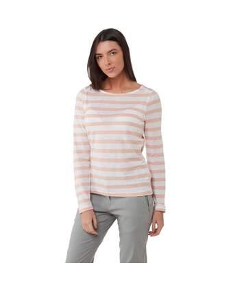 Craghoppers - T-Shirt Manches Longues Erin - Femme (Rose/blanc) - UTCG1284