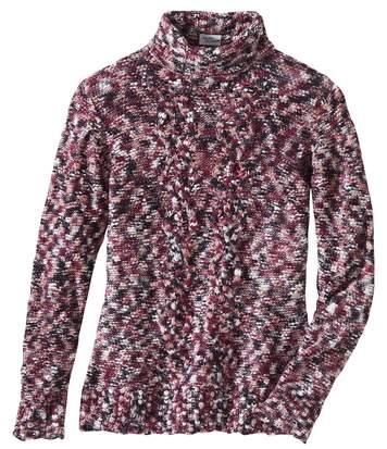 Women's Pink Mottled Knit Roll-Neck Jumper