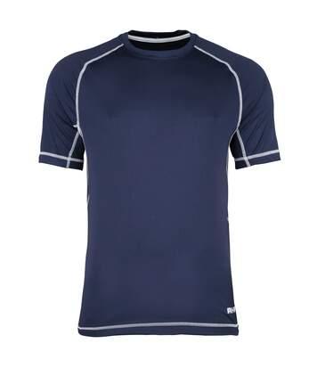 Rhino Mens Mercury Breathable Performance Sports T-Shirt (Black/White Stitching) - UTRW1286