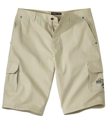 Men's Beige Multi-Pocket Cargo Shorts