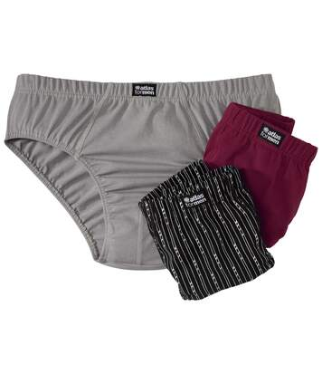 Pack of 3 Men's Comfort Briefs - Black Grey Burgundy