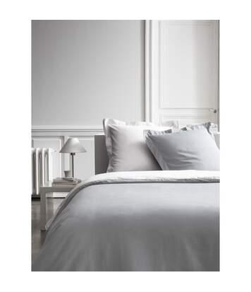 Housse de couette et 2 Taies d'oreiller Bicolore - 220 x 240 cm - Coton Percale - Blanc et gris