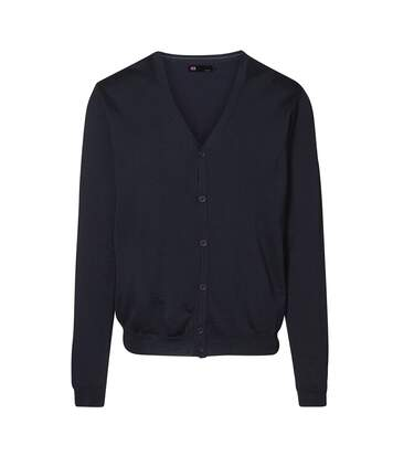 ID Mens Fitted Button Up Cardigan (Navy) - UTID394