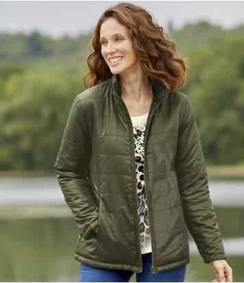Khaki és nyomtatott leopárd mintás, kifordítható kabát