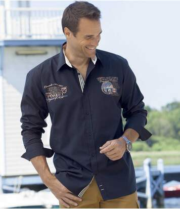 Men's Navy Long Sleeve Poplin Shirt