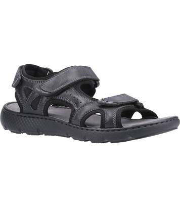 Hush Puppies Mens Carter Leather Strap Sandal (Black) - UTFS7056