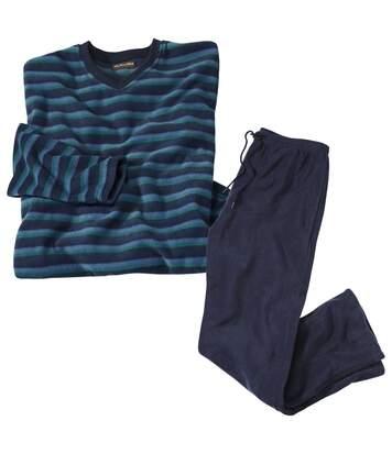 Piżama z mikropolaru w paski