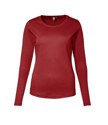 Id - T-Shirt À Manches Longues (Coupe Féminine) - Femme (Rouge) - UTID326