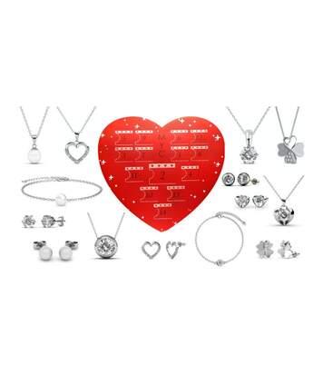 Coffret cadeaux cœur - 14 bijoux - Finition argentée