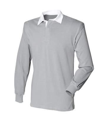 Front Row - T-Shirt De Rugby À Manches Longues En Coton - Homme (Gris ardoise) - UTRW473