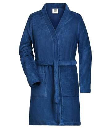 Peignoir court en coton bio peigné pour femme - MB447 - bleu marine