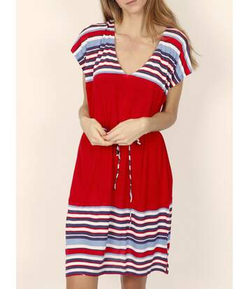 Robe estivale manches courtes Elegant Stripes rouge Admas
