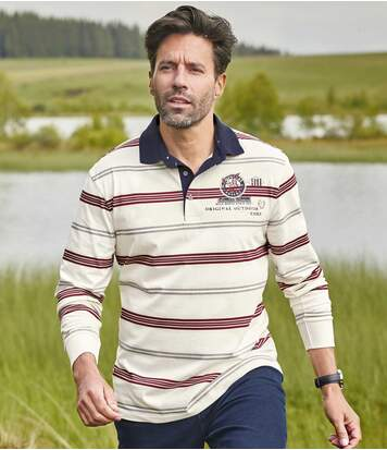 Men's Striped Polo Shirt - Off-White Burgundy