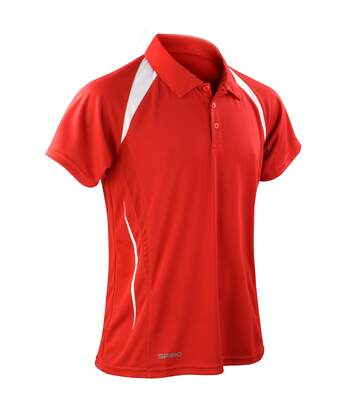 Spiro Mens Sports Team Spirit Performance Polo Shirt (Red/White) - UTRW1470