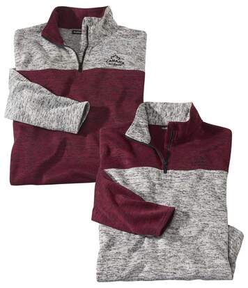 Pack of 2 Men's Brushed Fleece Jumpers - Half Zip - Grey Burgundy
