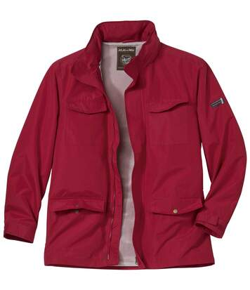 Men's Red Multi-Pocket Windbreaker Jacket - Full Zip