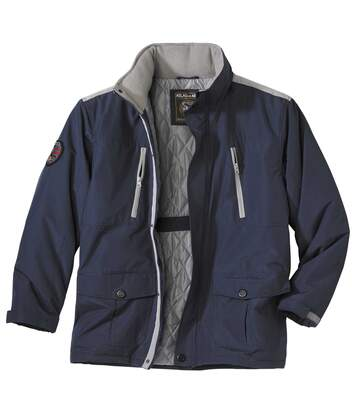 Men's Multi-Pocket Navy Winter Parka